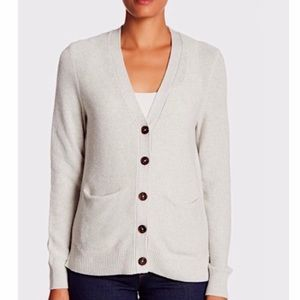 Madewell Gray Textured V-neck Grandpa Cardigan XS